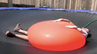 Dude Gets Legitimately Crushed By A 6ft Water Balloon, Pops It In Slow-Mo Before His Legs Break