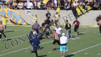 Crazy Soccer Fans Storm The Field And Chaos Erupts Into All Out Brawl During Halftime