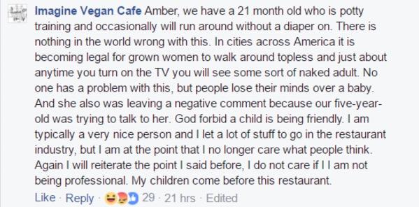 Imagine Vegan Cafe Facebook Meltdown