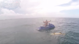 Bro Somehow Catches An Enormous Goliath Grouper While Fishing From A Jet Ski In Rough Seas