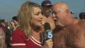 Poor Reporter Gets Hit With A Tidal Wave Of Puke While Covering An Ironman Competition