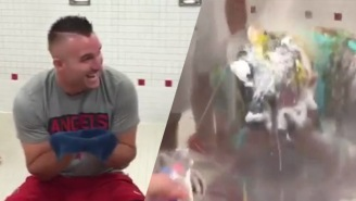 Mike Trout Got Absolutely COVERED In All Sorts Of Nasty Stuff By His Teammates For His Birthday