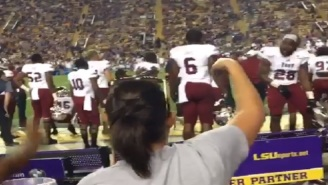 Troy WR Alvin Bryant Disrespectfully Taunts LSU Fans By Grabbing His Crotch And Flipping Them Off After Upset Win