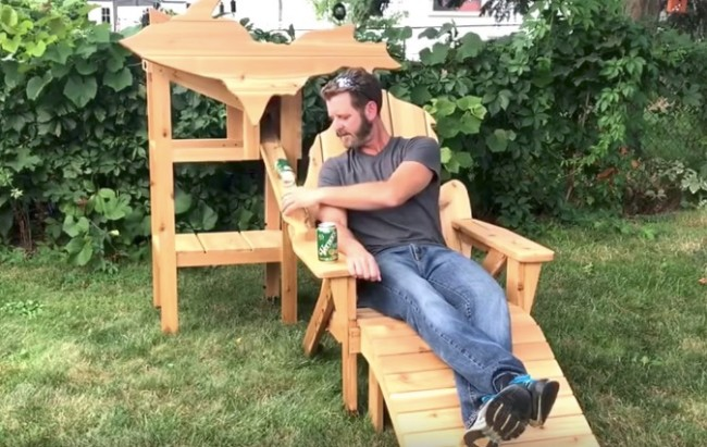 Real Life Ron Swanson Builds Automatic Beer Chair Out Of Wood