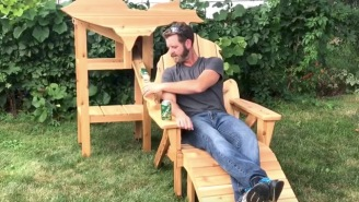 Real-Life Ron Swanson Builds Wooden Chair With A Hidden Cooler That Automatically Serves Him Beer