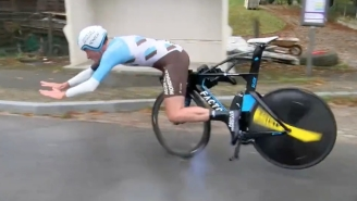 Cyclist's Handlebars Fall Off Mid-Race At 36 MPH, Sending Him Sliding On His Stomach For A Good 20 Yards