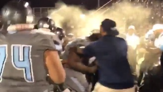 High School Football Game Ends With Crazy Brawl Between Players and Coaches That Had Be Broken Up By Pepper Spray