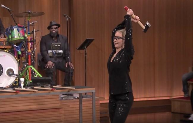 Jennifer Lawrence Axe Throwing