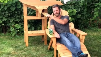 Guy Builds Awesome Wooden Chair Dedicated To His Favorite State That Doubles As A Beer Dispenser