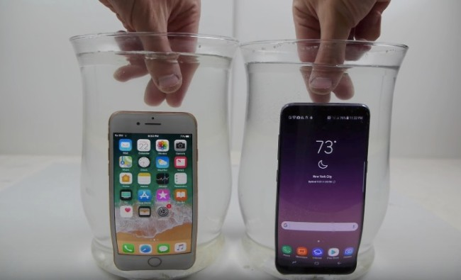 salt water test iPhone 8 vs Galaxy S8