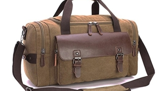 This Cool Canvas Duffel Bag With Real Leather Is An Absolute Steal Today