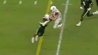 Syracuse QB Eric Dungey Hits Miami Defender With A WWE-Style Dropkick During Run
