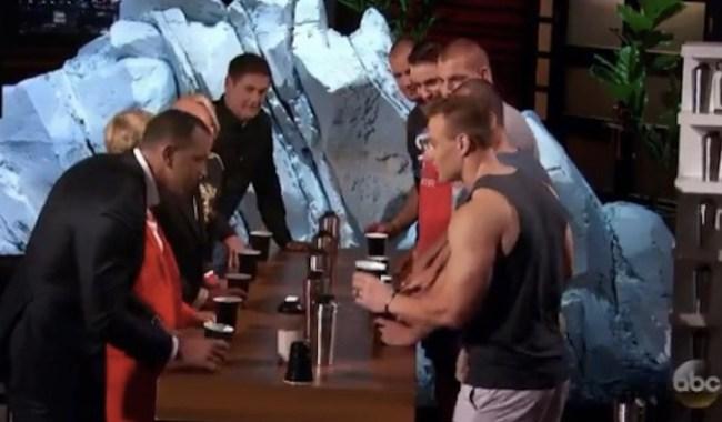 Gronkowski brothers play flip cup on Shark tank