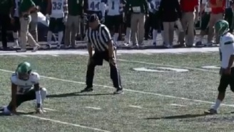 Eastern Michigan Kicker Clearly Misses Field Goal By A Mile But Clueless TV Announcer Says He Made It