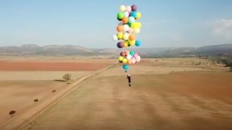 Dude Recreates The Movie 'Up' And Travels 16 Miles In A Camping Chair Suspended By 100 Balloons