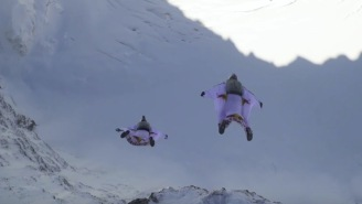 Crazy Wingsuit Flyers BASE Jump Off A Mountain In The Alps And Land INSIDE Of A Plane