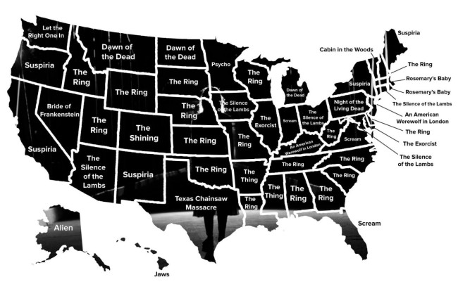 USA State Map Of Horror Movies