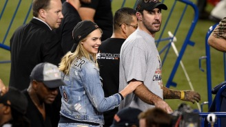 Kate Upton And Her Sweet 'Verlander' Jacket Had A Quite A Time On The Field After The World Series