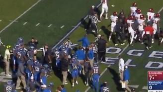 Fight Breaks Out Between Louisville And Kentucky After Lamar Jackson Shoves Kentucky Defender