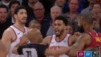 Frank Ntilikina And Enes Kanter Both Get Heated With  LeBron James On The Court