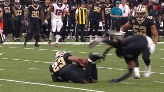 Saints' Marshon Lattimore Intercepts The Ball With His Butt
