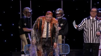 James Franco And Jimmy Fallon Play NFL Trivia, Loser Gets Gatorade Bath Of Buffalo Sauce