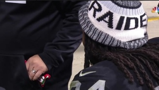 Raiders Staffer Sneaks Marshawn Lynch Some Skittles On The Down Low