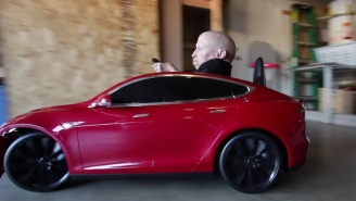 Watch Verne Troyer Rip Wheels In A Battery-Powered Tesla Model S Built For Kids