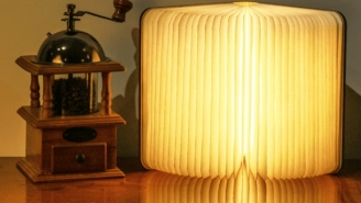 This Wooden Book Is Actually A Badass Lamp Light