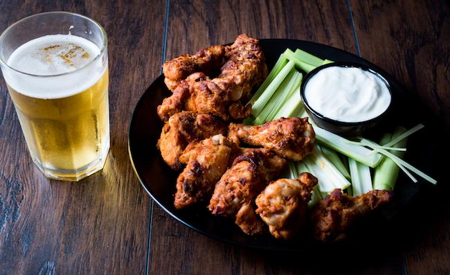 beer and buffalo wings