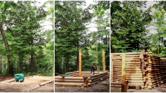Time Lapse Of One Man Building A Log Cabin In The Woods From Scratch