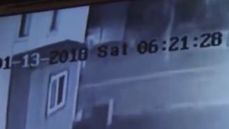 Surveillance Video Of Car Smashing Into The Second Floor Of A Building Goes Viral