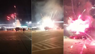 600 Fireworks Exploding From Trunk Of A Car Was More Lit Than Your New Year's Eve