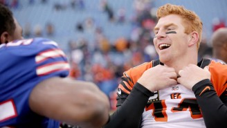 A Member Of Bills Mafia Got A Tattoo Of Andy Dalton Jumping Through A Table And It Belongs In A Museum