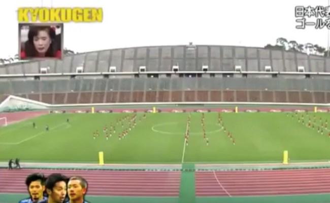 Japanese soccer players versus 100 kids