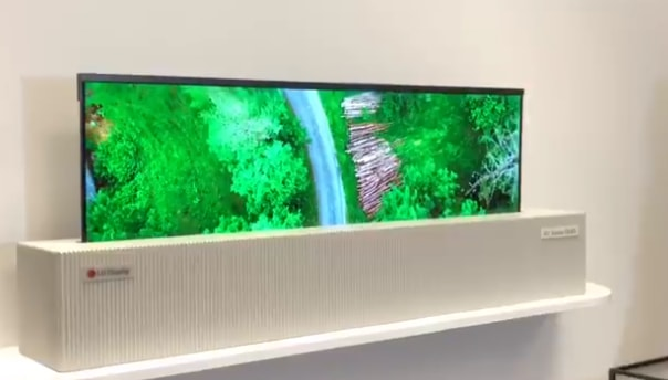 """World's 1st 65"""" Rollable Display by LG"""