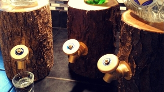 Serve Your Booze On Tap With A Handcrafted Log Liquor Dispenser