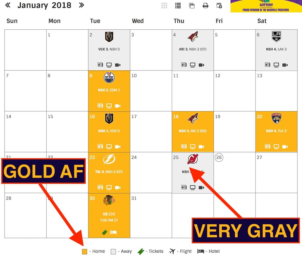 nashville predators schedule