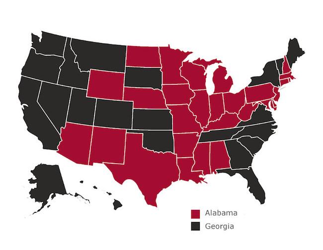 national championship fan map