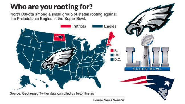 patriots eagles super bowl fan map