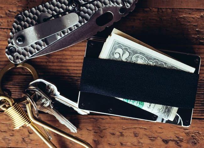 ridge wallet aluminum elastic