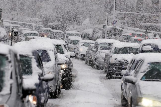Cold Snow Weather Traffic Jam