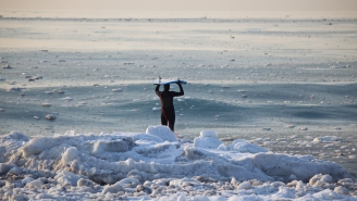Frozen 'Slurpee Waves' Showed Up Off New Jersey And These Surfers Are NUTS For Riding These Slush Puppies