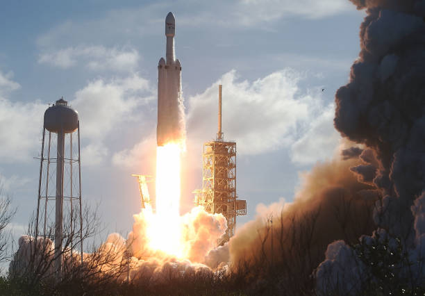 SpaceX Falcon Heavy rocket lifts off from launch pad 39A at Kennedy Space Center