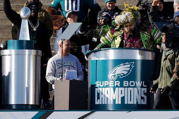 Jason Kelce speaks at a ceremony honoring the Philadelphia Eagles Super Bowl win Philadelphia