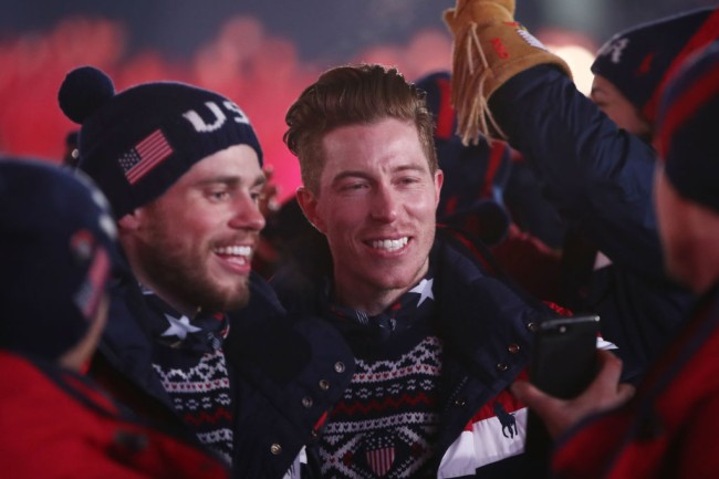 us Kenworthy and Shaun White of the United States enter the stadium during the Opening Ceremony of the PyeongChang 2018 Winter Olympic Games at PyeongChang Olympic Stadium