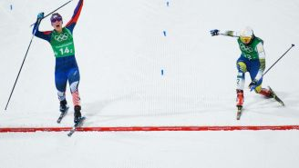 Announcers GO NUTS During Wild Cross Country Skiing Finish In Best Clip Of The Olympics
