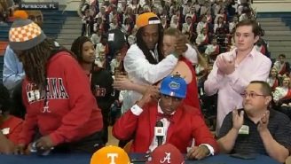 Jacob Copeland's Mother Walks Off Stage In Disgust After Her Son Chooses Florida Over Alabama And Tennessee