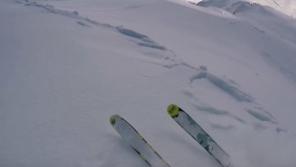 Paragliding Skier Triggers A Terrifying Avalanche So He Races It Down The Mountain Like A Boss