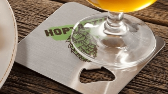 These Craft Beer Themed Stainless Steel Coasters Have A Built-In Bottle Opener